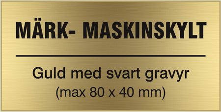 Max 80 x 40 mm. Valfri text. Plastlaminat - 1,5 mm.