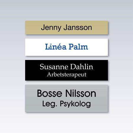 Utbytbar textremsa med valfri text.