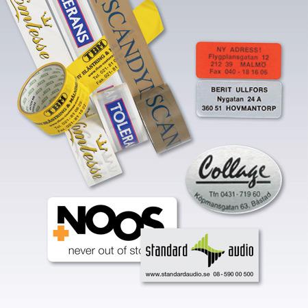 Etiketter, dekaler och tejp med tryck